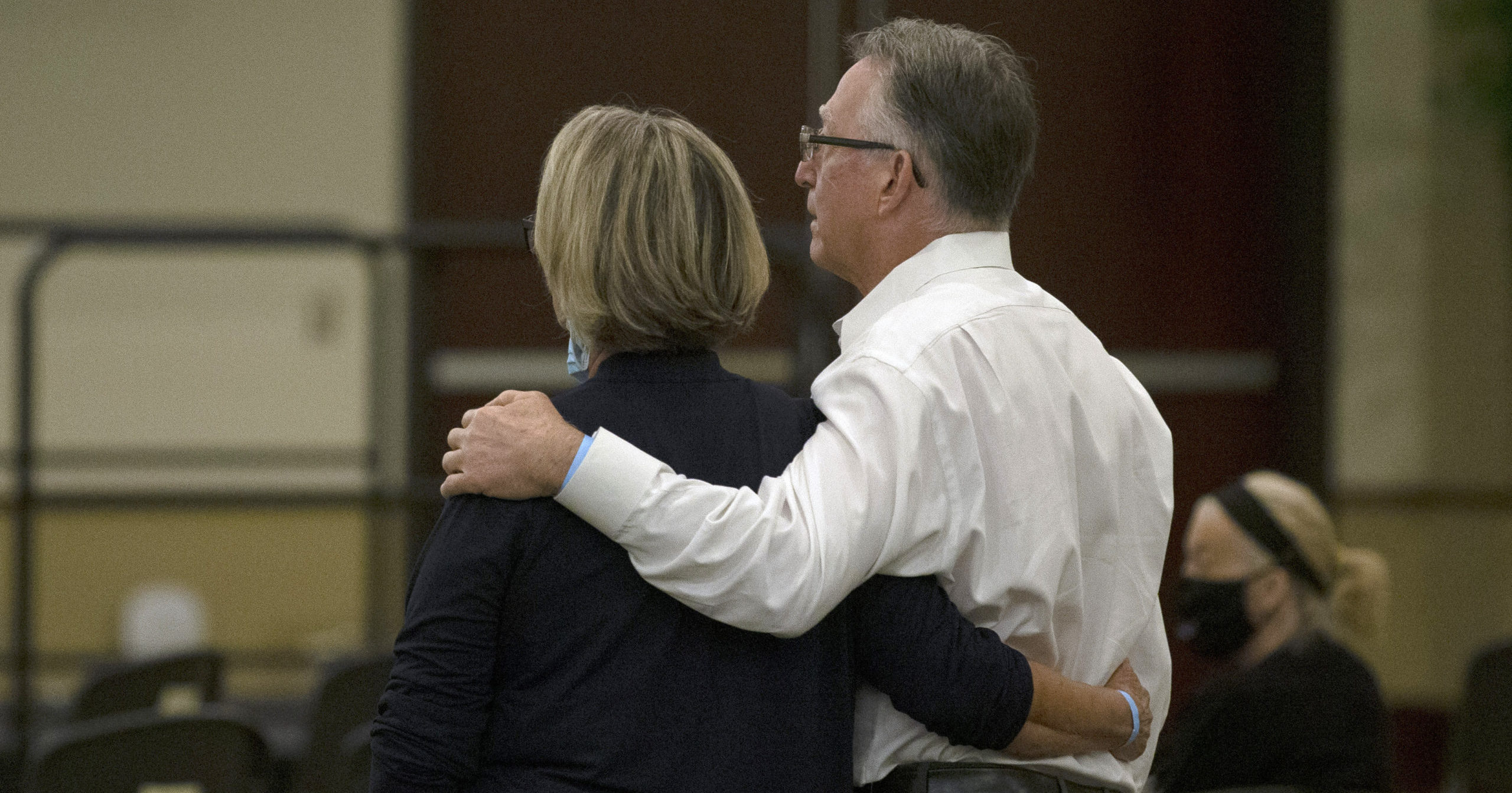 Gay and Bob Hardwick, who were attacked in their Stockton home in 1978 by Golden State Killer, Joseph James DeAngelo, stand as the charges are read against DeAngelo during a hearing in Sacramento Superior Court in Sacramento, California, on June 29, 2020. DeAngelo, 74, pleaded guilty to 13 counts of murder and multiple other charges 40 years after a sadistic series of assaults and slayings in California.