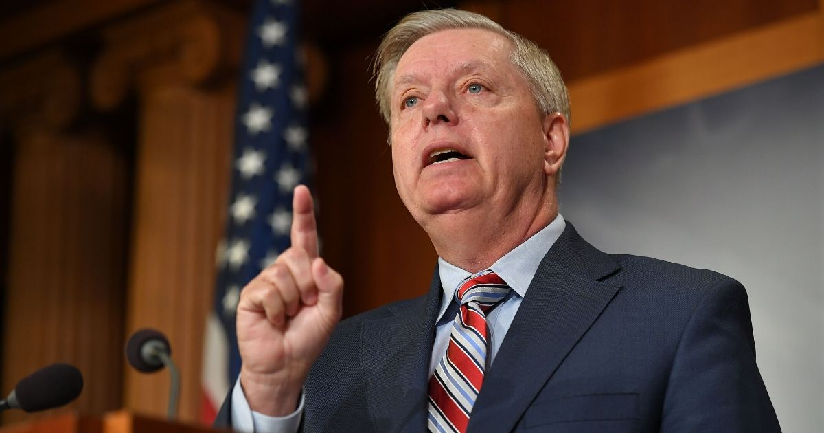 Senate Judiciary Committee Chairman Lindsey Graham speaks during a news conference on US Attorney General William Barr's summary of the Mueller report at the US Capitol in Washington, D.C., on March 25, 2019. (