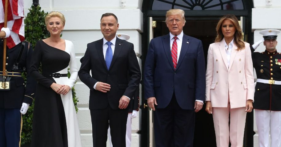 President Donald Trump and First Lady Melania Trump welcome Polish President Andrzej Duda and his wife, Agata Kornhauser-Duda, to the White House on June 12, 2019, in Washington, D.C.