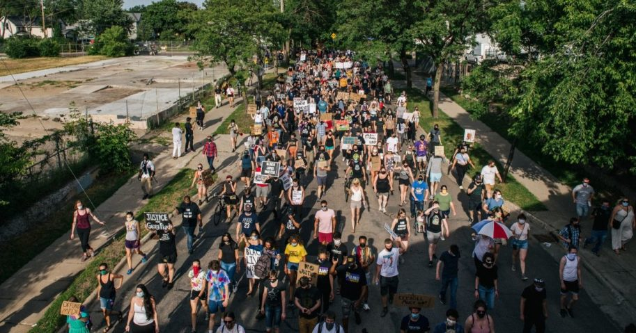 Protesters march in the street during a demonstration on June 25, 2020, in Minneapolis, Minnesota.