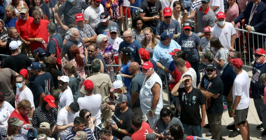Supporters of President Donald Trump converge to enter a campaign rally on June 20, 2020, in Tulsa, Oklahoma. Trump is scheduled to hold his first political rally since the start of the coronavirus pandemic at the BOK Center.