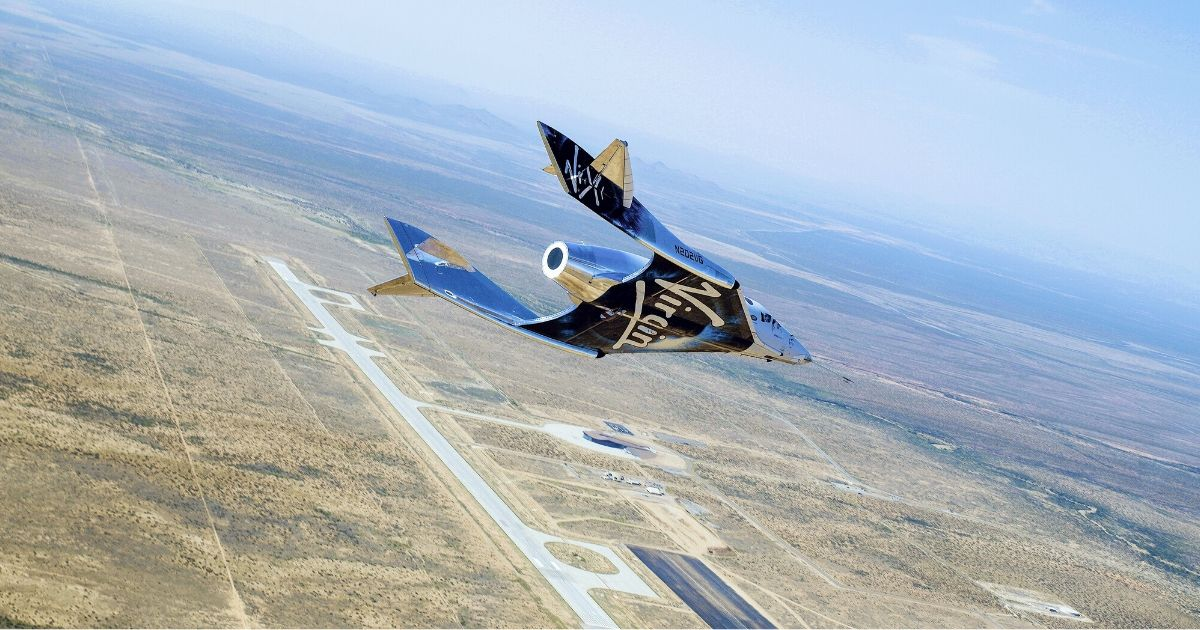 Virgin Galactic's SpaceShipTwo is seen flying during a test in New Mexico.