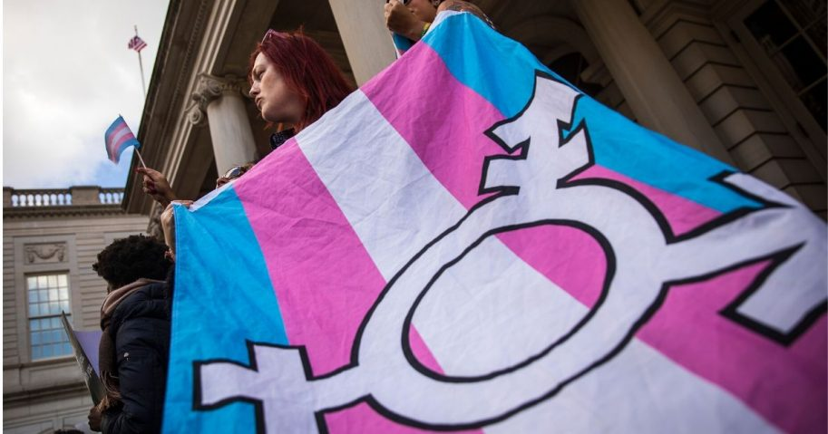 LGBT activists rally in support of transgender people on the steps of New York City Hall on Oct. 24, 2018, in New York City.