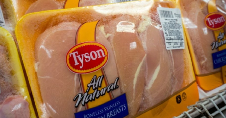 Packages of Tyson brand chicken in the meat department of a supermarket in New York.