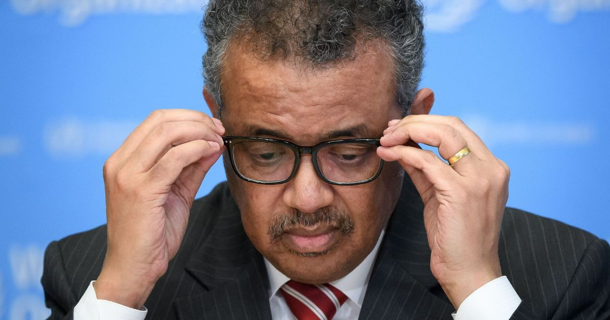 A photo taken on March 11, 2020, shows World Health Organization Director-General Tedros Adhanom Ghebreyesus attending a press briefing on COVID-19 at the WHO headquarters in Geneva.
