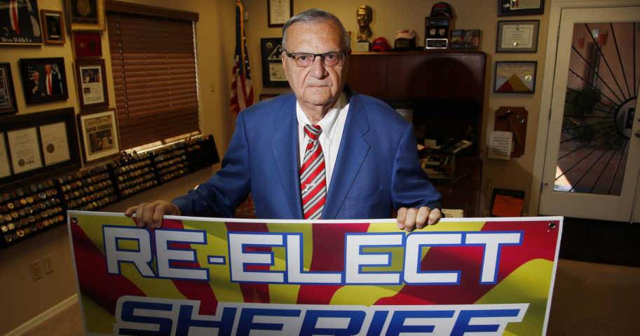 Former Maricopa County Sheriff Joe Arpaio poses for a picture in his office on July 22, 2020, in Fountain Hills, Arizona. He faces his former second-in-command, Jerry Sheridan, in the Aug. 4 Republican primary in what has become his second comeback bid.