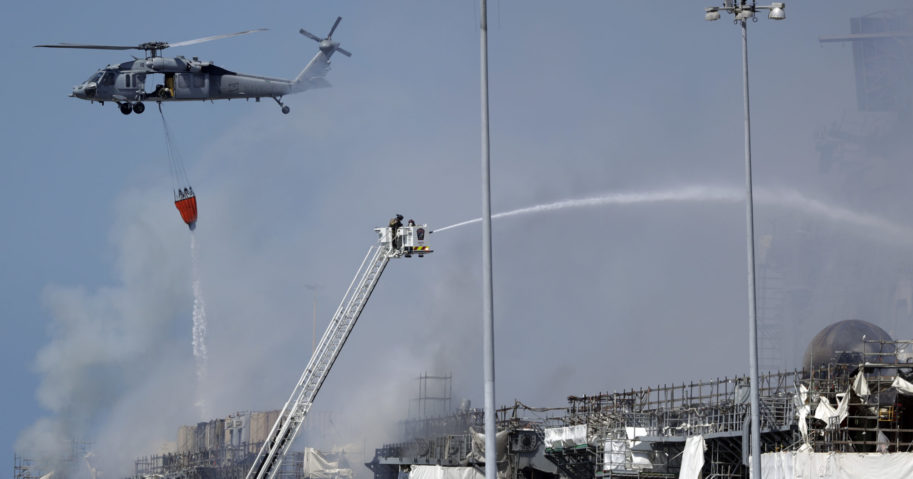 Fire crews battle the fire on the USS Bonhomme Richard on July 13, 2020, in San Diego.