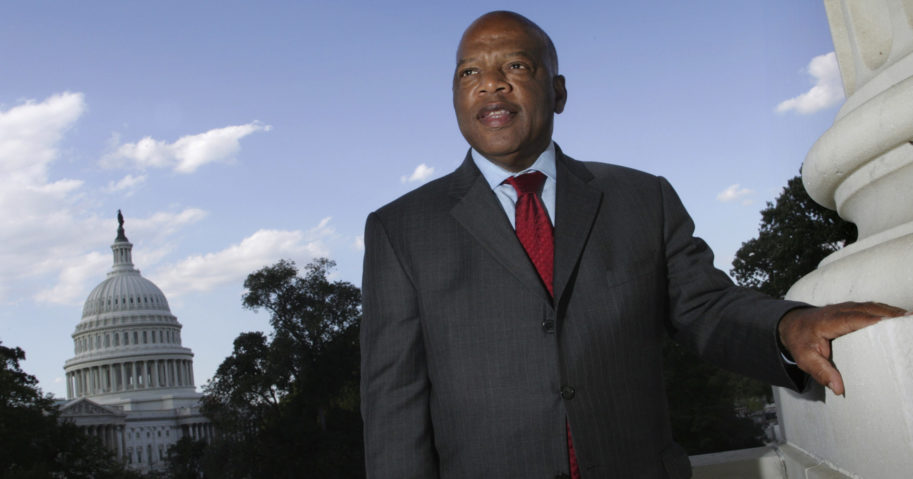 In this Oct. 10, 2007, file photo, with the Capitol Dome in the background, Georgia Democratic Rep. John Lewis is seen on Capitol Hill in Washington.
