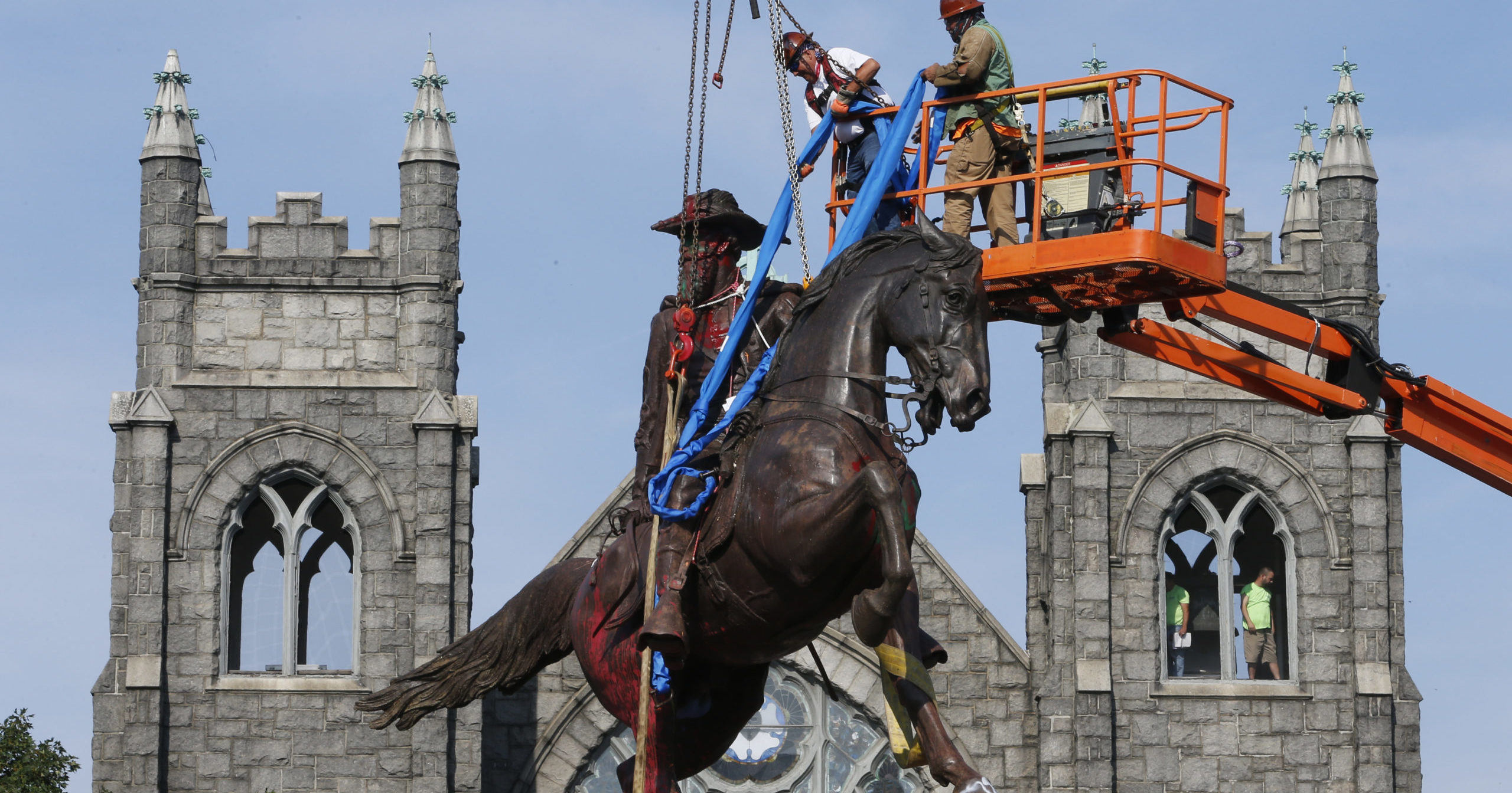 A statue of Confederate General J.E.B. Stuart is removed on July 6, 2020, in Richmond, Virginia.
