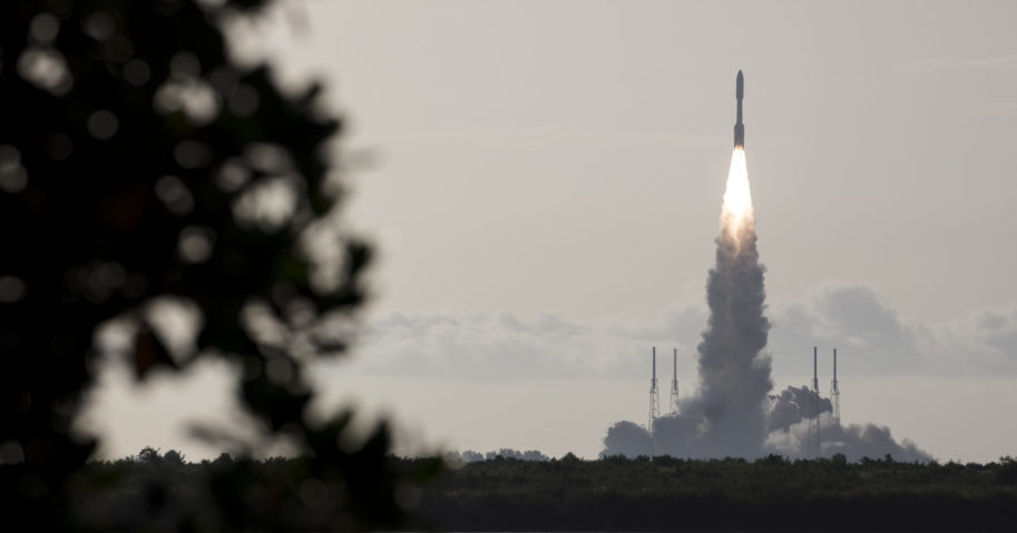 In this photo provided by NASA, an Atlas V rocket blasts off at the Cape Canaveral Air Force Station on July 30, 2020, in Cape Canaveral, Florida. The launch of NASA's Perseverance is the first step in an ambitious project to bring the first Martian rock samples back to Earth to be analyzed for evidence of life.