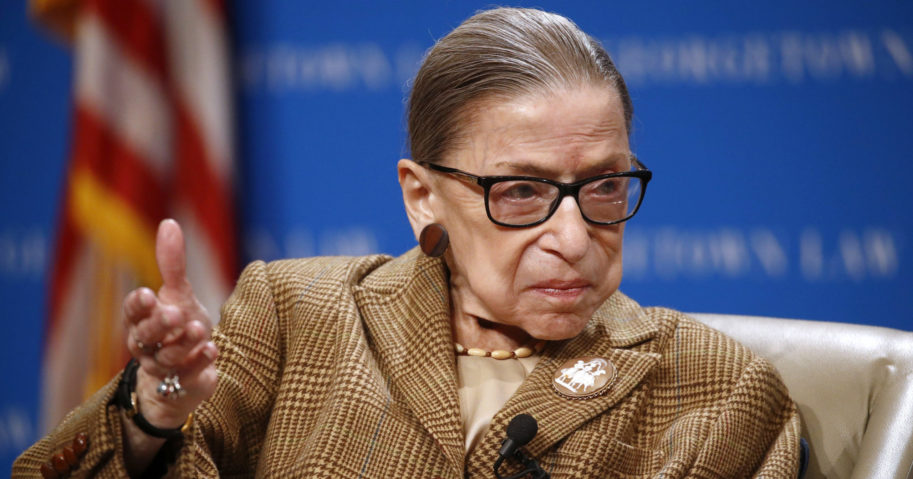 In this Feb. 10, 2020, file photo, Supreme Court Associate Justice Ruth Bader Ginsburg speaks during a discussion on the 100th anniversary of the ratification of the 19th Amendment at Georgetown University Law Center in Washington.