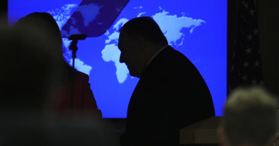 Secretary of State Mike Pompeo attends a news conference at the State Department in Washington, D.C. on July 8, 2020.