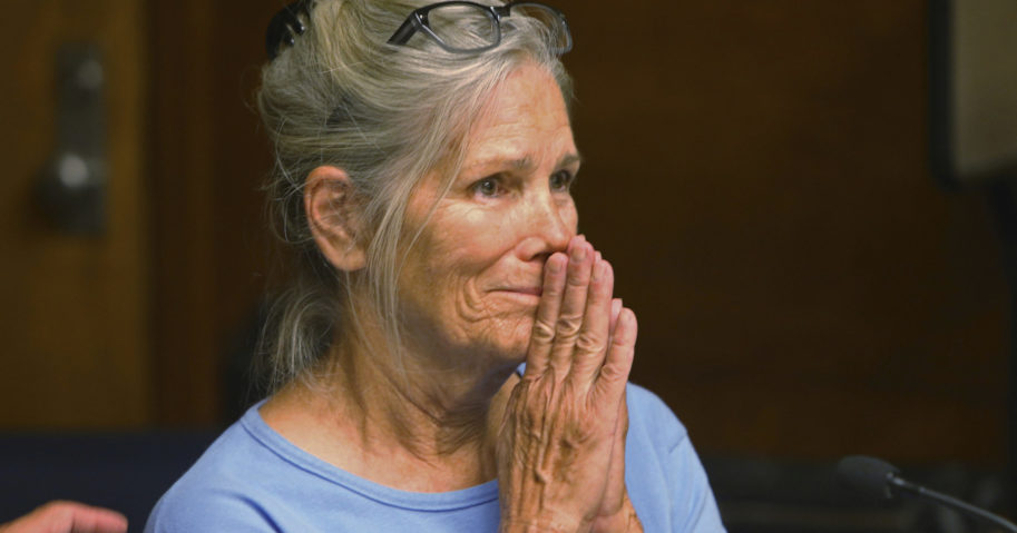 In this Sept. 6, 2017, file photo, Leslie Van Houten reacts after hearing she is eligible for parole during a hearing at the California Institution for Women in Corona, California. A California panel has recommended parole for Charles Manson follower Van Houten, who has spent nearly five decades in prison. The recommendation was made on July 23, 2020, although Gov. Gavin Newsom could decide to deny it.