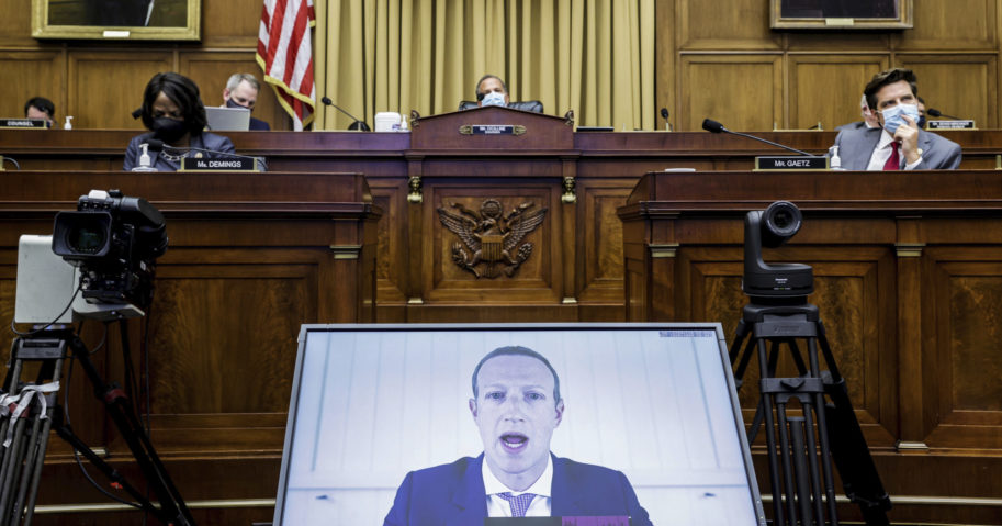 Facebook CEO Mark Zuckerberg speaks via video conference during a House Judiciary subcommittee hearing on antitrust on Capitol Hill on July 29, 2020, in Washington, D.C.