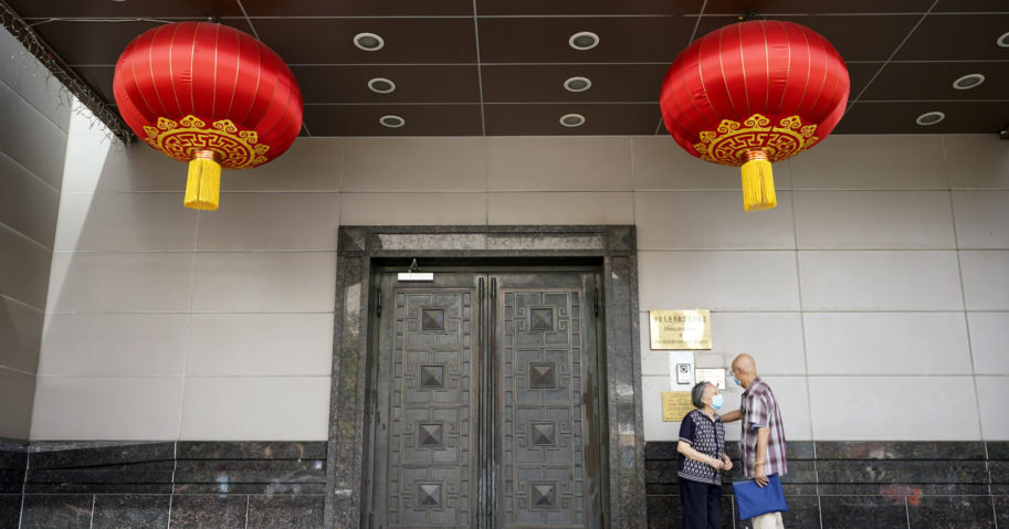 Visitors try to enter the Chinese consulate on July 22, 2020, in Houston. The U.S. has ordered the consulate to close in what China called a provocation that violates international law.