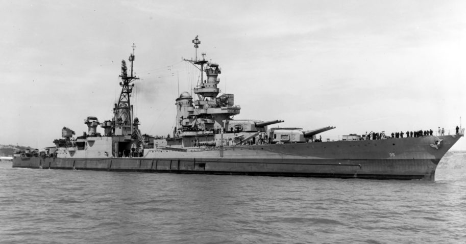 In this July 10, 1945, photo provided by U.S. Navy, the USS Indianapolis is seen off the Mare Island Navy Yard in Northern California. Congress has awarded the Congressional Gold Medal, its highest honor, to crew members of the ship that delivered key components of the first nuclear bomb and was later sunk by Japan during World War II.