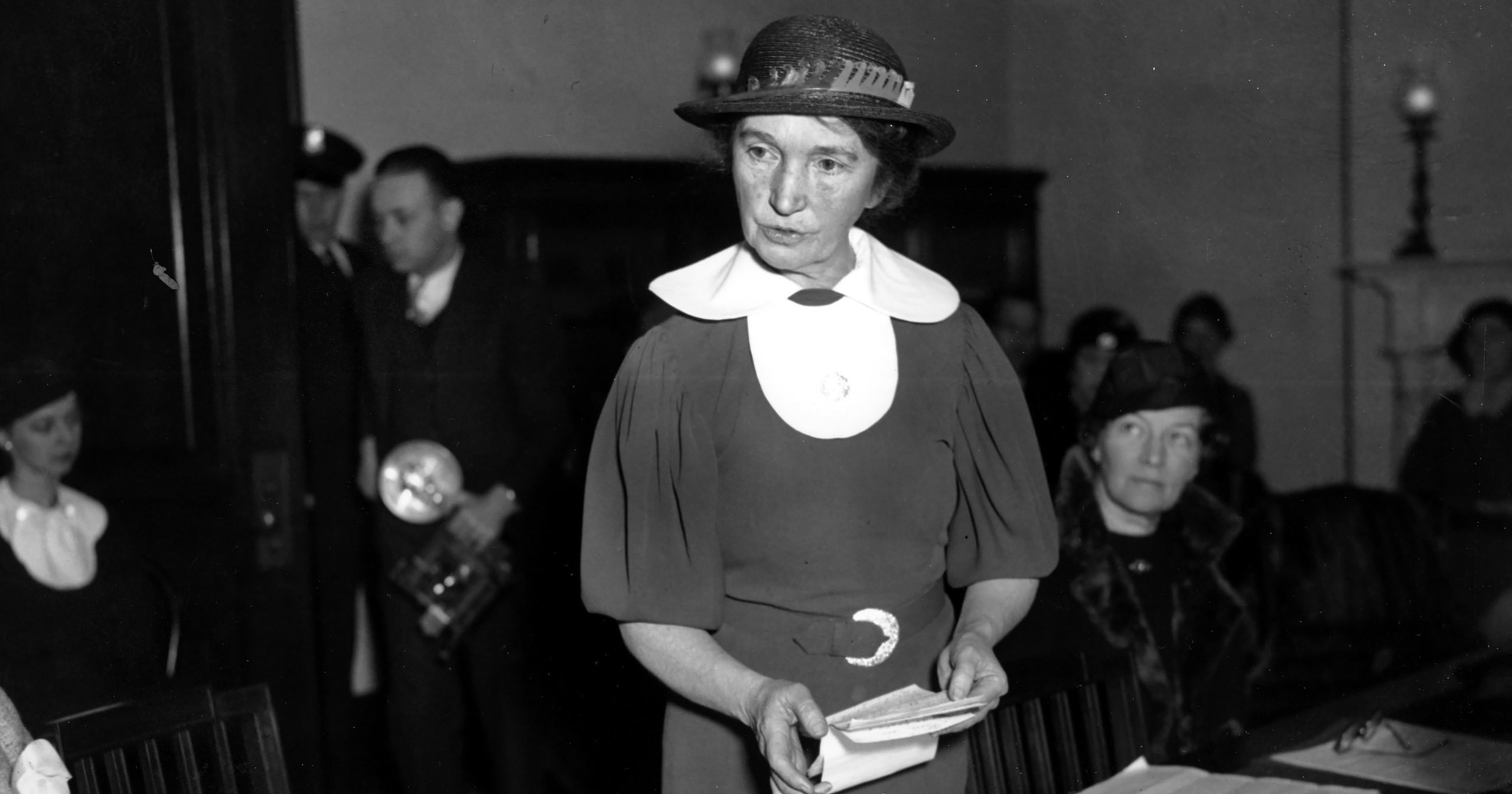 In this March 1, 1934, file photo, Margaret Sanger, who founded the American Birth Control League in 1921, speaks before a Senate committee to advocate for federal birth control legislation in Washington, D.C. Planned Parenthood of Greater New York is removing Sanger's name from a Manhattan clinic because of her ties to the eugenics movement, the organization announced July 21, 2020.
