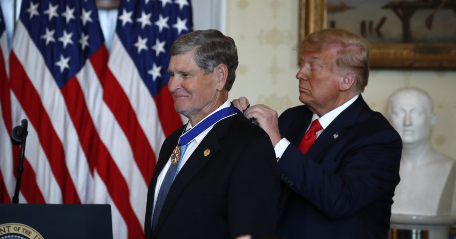 President Donald Trump presents the Presidential Medal of Freedom to Jim Ryun in the Blue Room of the White House on July 24, 2020, in Washington, D.C.