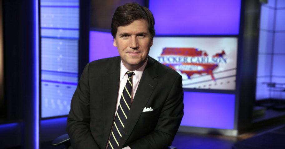 "Tucker Carlson, host of ""Tucker Carlson Tonight,"" poses in a Fox News studio on March 2, 2017, in New York."