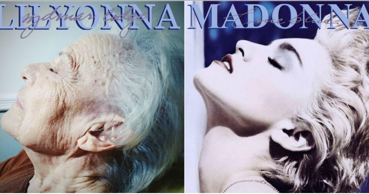 A nursing home resident, left, recreating a Madonna album cover, right.