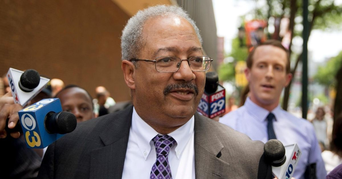 Chaka Fattah talks to reporters after leaving the federal courthouse in Philadelphia on June 21, 2016.