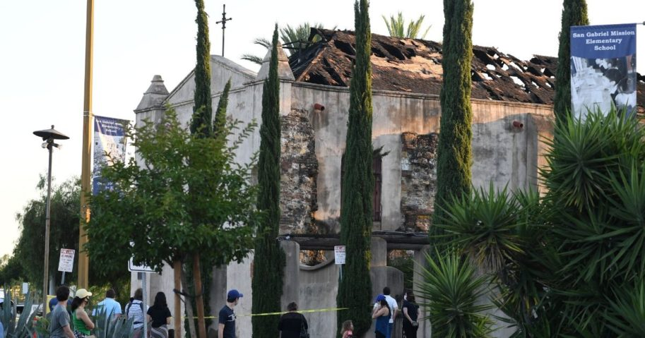 The damaged roof of the San Gabriel Mission is seen after a fire broke out early on July 11, 2020, in San Gabriel, California.