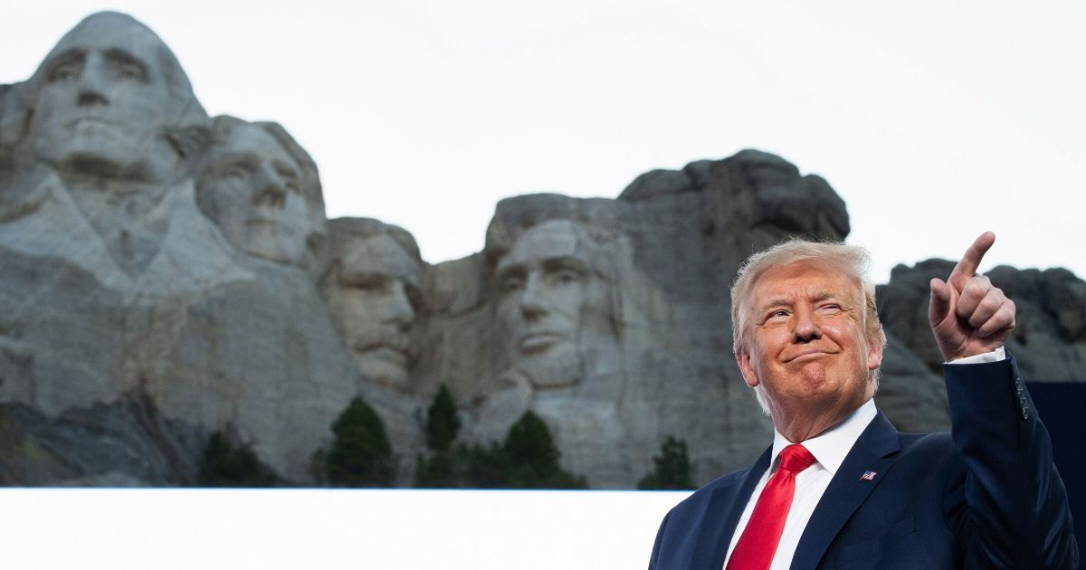 President Donald Trump arrives for the Independence Day celebration at Mount Rushmore National Memorial in Keystone, South Dakota, on July 3, 2020.