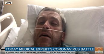 "Dr. Joseph Fair speaks from a hospital bed in a segment on NBC News' ""Today"" show."