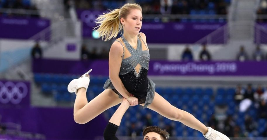 Ekaterina Alexandrovskaya and Harley Windsor of Australia compete during the Pair Skating Short Program in the 2018 Winter Olympics in Pyeongchang, South Korea.