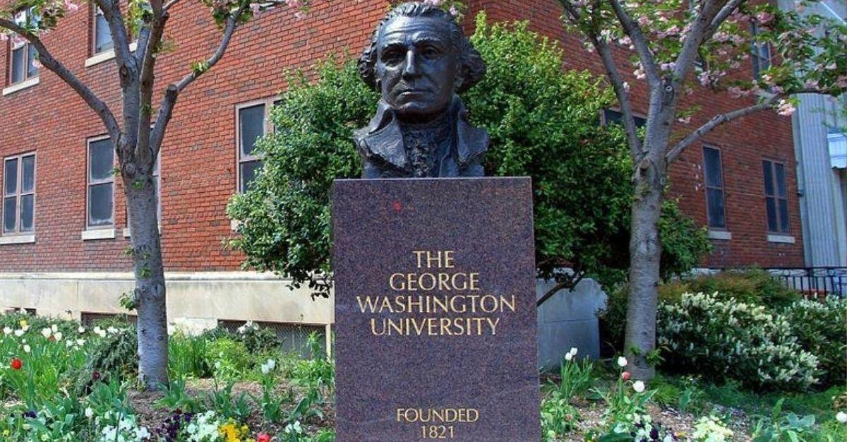 A bust of George Washington at George Washington University in Washington, D.C.