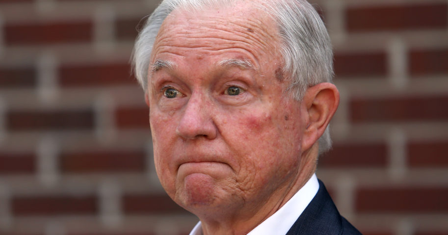 Former Attorney General Jeff Sessions addresses the media after voting Tuesday in the Alabama Republican primary runoff for the U.S. Senate.