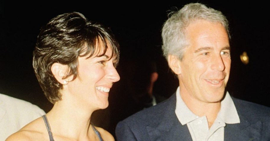 Ghislaine Maxwell, left, and Jeffrey Epstein pose for a portrait during a party at the Mar-a-Lago club in Palm Beach, Florida, on Feb. 12, 2000.