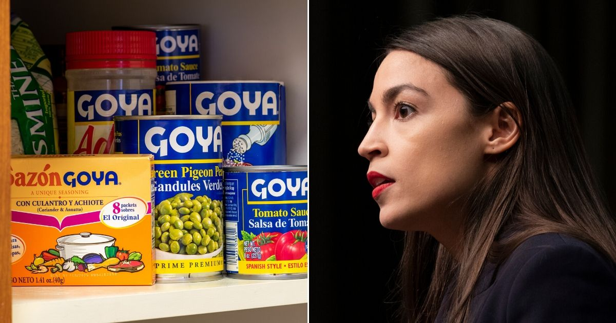 Goya products, left, and Rep. Alexandria Ocasio-Cortez of New York, right.