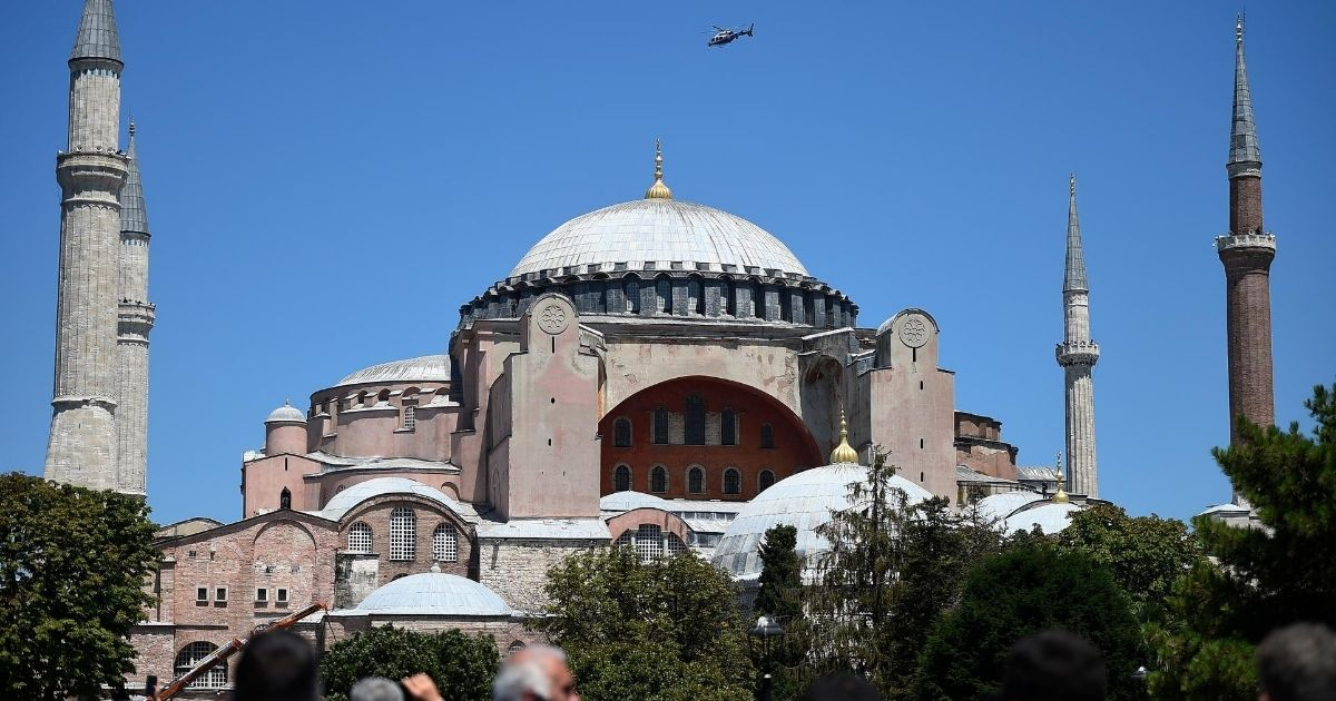 The Hagia Sophia in Istanbul is seen during Muslim worship on July 24, 2020, after the Byzantine-era cathedral was converted into a mosque.