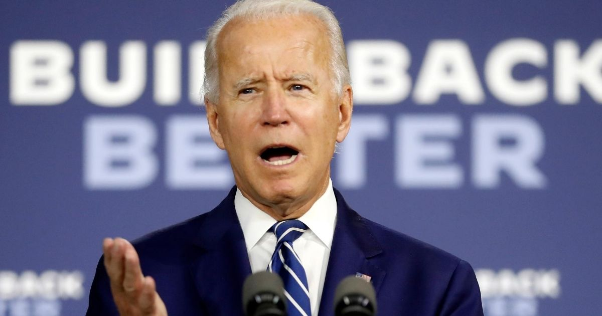 Democratic presidential candidate former Vice President Joe Biden speaks at a campaign event at the Colonial Early Education Program at the Colwyck Training Center on July 21, 2020, in New Castle, Delaware.