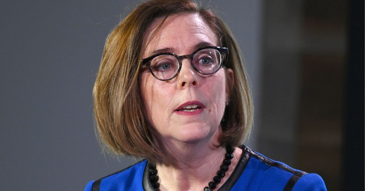 Oregon Gov. Kate Brown speaks at the Axios News Shapers event on the U.S. education system on Feb. 22, 2019, in Washington, D.C.