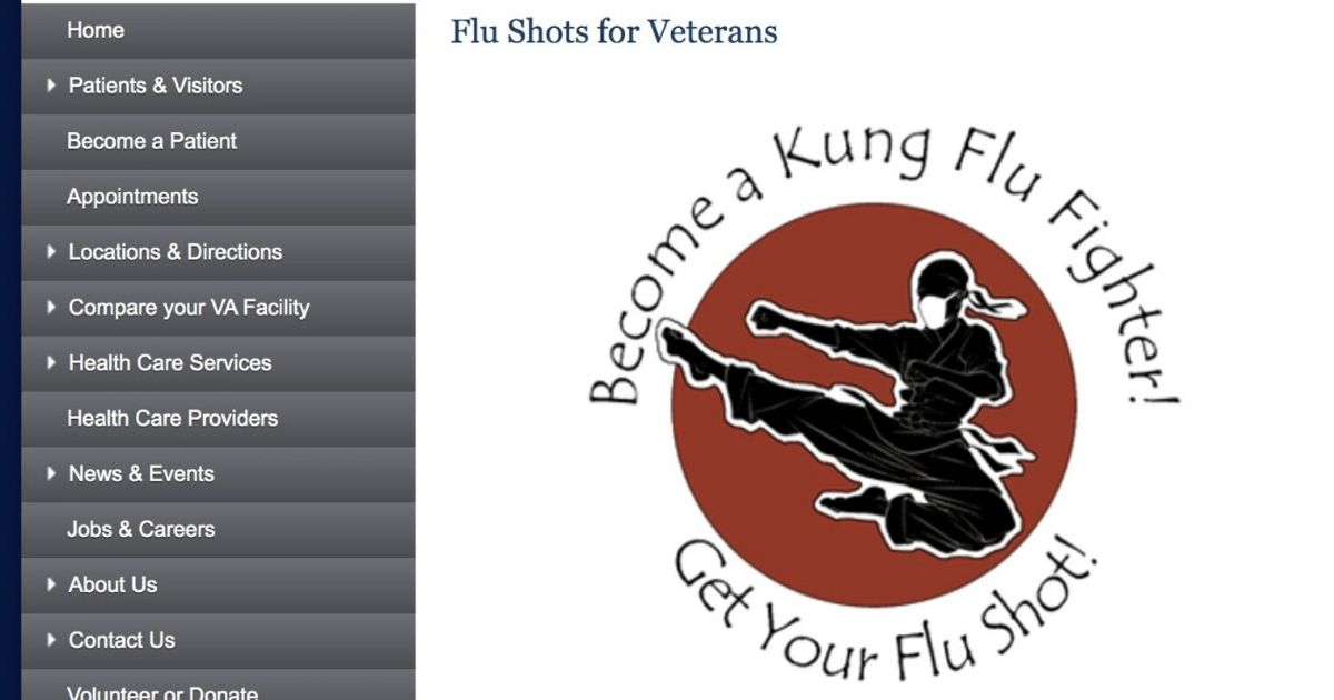 """Screen shot of a VA ad featuring the """"Kung Flu Fighter"""" logo"""
