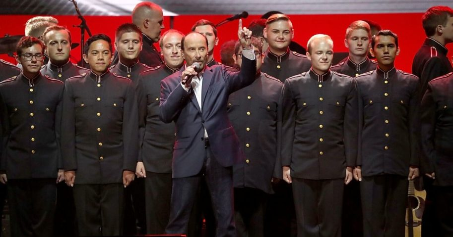 "Lee Greenwood performs in concert during the ""Deep from the Heart: One America Appeal Concert"" at Reed Arena on Oct. 21, 2017, in College Station, Texas."