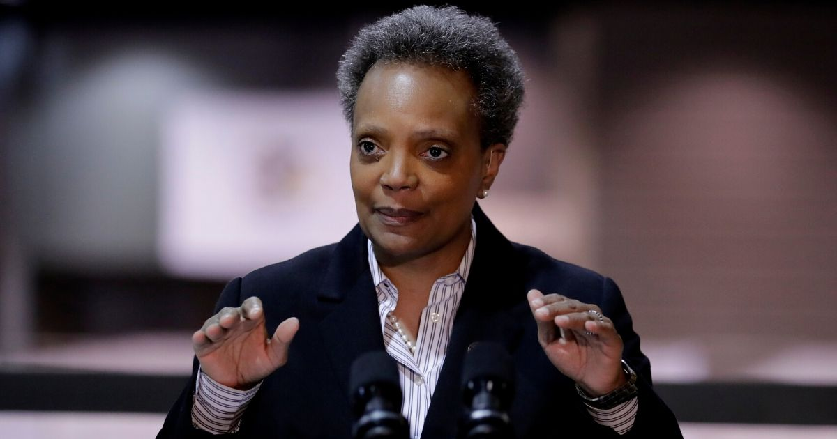 Chicago Mayor Lori Lightfoot speaks during a news conference at McCormick Place in Chicago on April 10, 2020.
