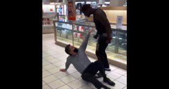 A man attacks an employee of Macy's in Flint, Michigan.