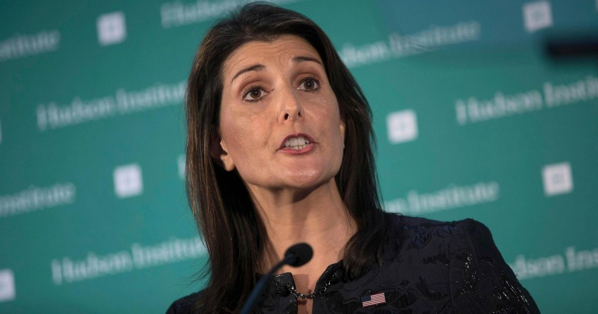 In this Dec. 3, 2018, file photo, then-U.S. Ambassador Nikki Haley to the United Nations speaks during the Hudson Institute's 2018 Award Gala in New York.