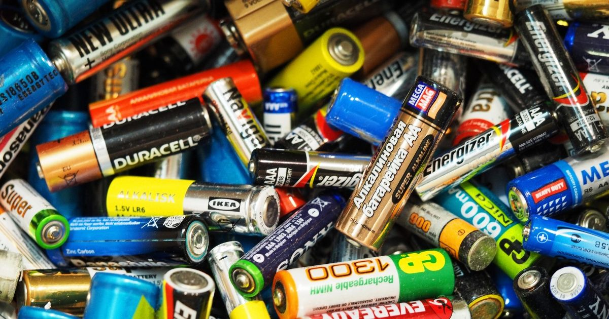 A variety of batteries being recycled is seen above.