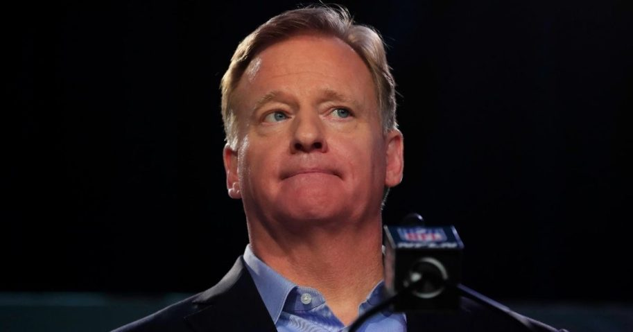 NFL Commissioner Roger Goodell speaks during a news conference prior to Super Bowl LIV at the Hilton Miami Downtown on Jan. 29, 2020.