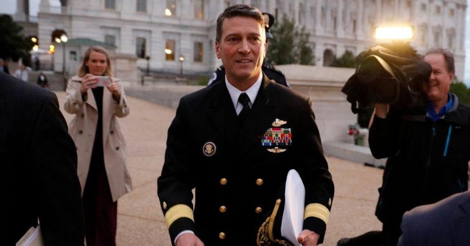 Dr. Ronny Jackson, then the nominee for Veterans Affairs secretary, departs the U.S. Capitol on April 25, 2018, in Washington, D.C.