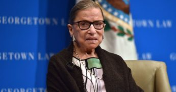 Supreme Court Justice Ruth Bader Ginsburg looks on as she speaks to first year Georgetown University law students in Washington, D.C., on Sept. 20, 2017.