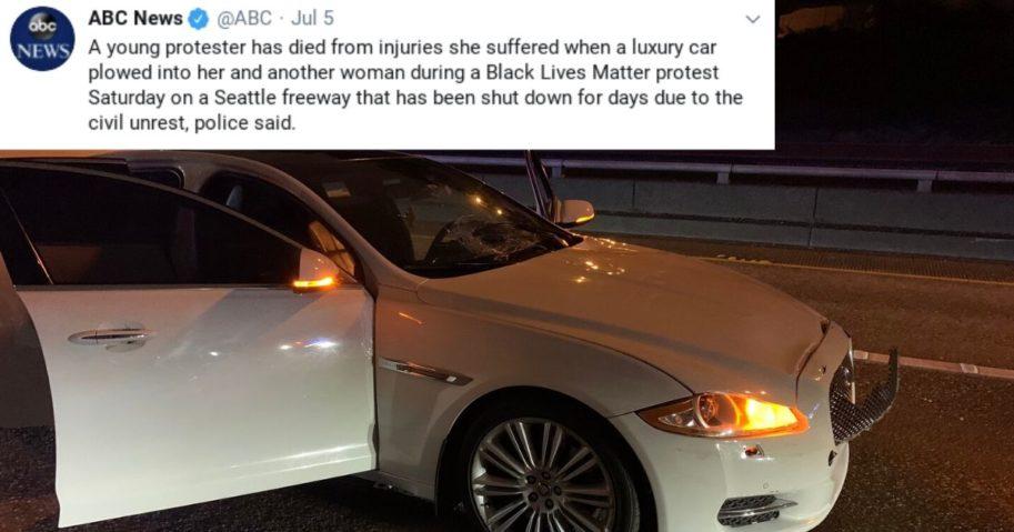 Seattle car hits woman, ABC tweet.
