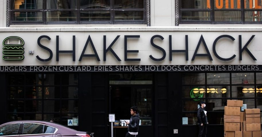 An exterior view of a Shake Shack restaurant is seen on April 20, 2020, in New York City.
