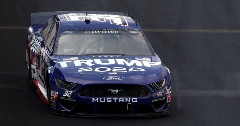 Corey LaJoie drives the Trump 2020 Ford during the NASCAR Cup Series' Big Machine Hand Sanitizer 400 at Indianapolis Motor Speedway on July 5, 2020.