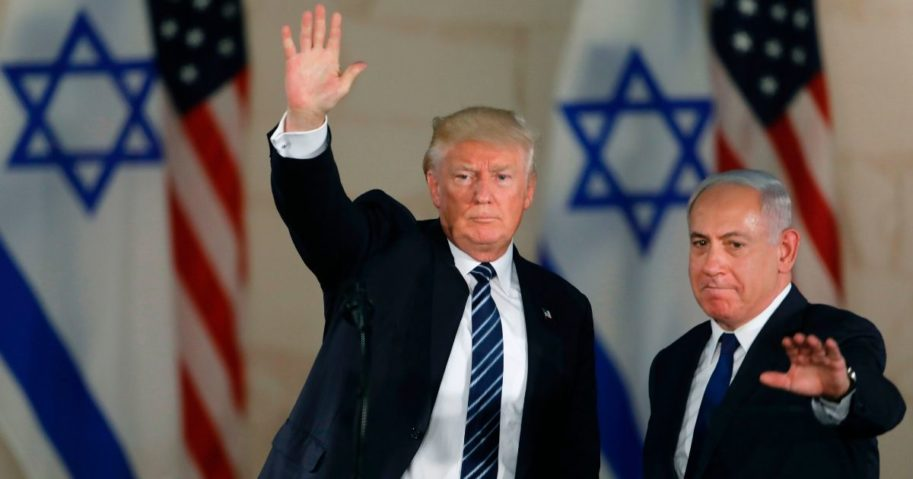President Donald Trump, left, and Prime Minister of Israel Benjamin Netanyahu leave after delivering a speech at the Israel Museum in Jerusalem on May 23, 2017.
