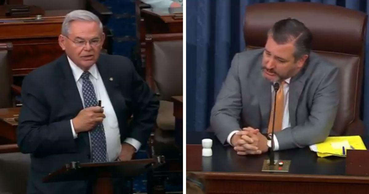 New Jersey Sen. Bob Menendez, left, and Texas Sen. Ted Cruz, right.